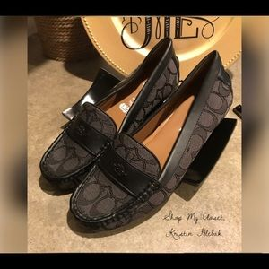 NWOB Coach Odette Black Loafers Monogram Size 6B